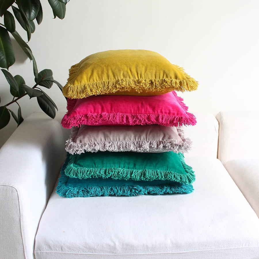 Turquoise Fringed Velvet Cushion
