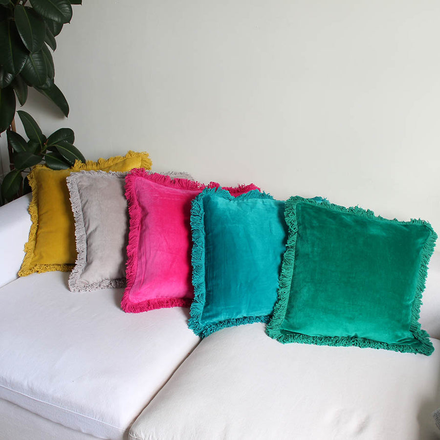 Ochre Fringed Velvet Cushion