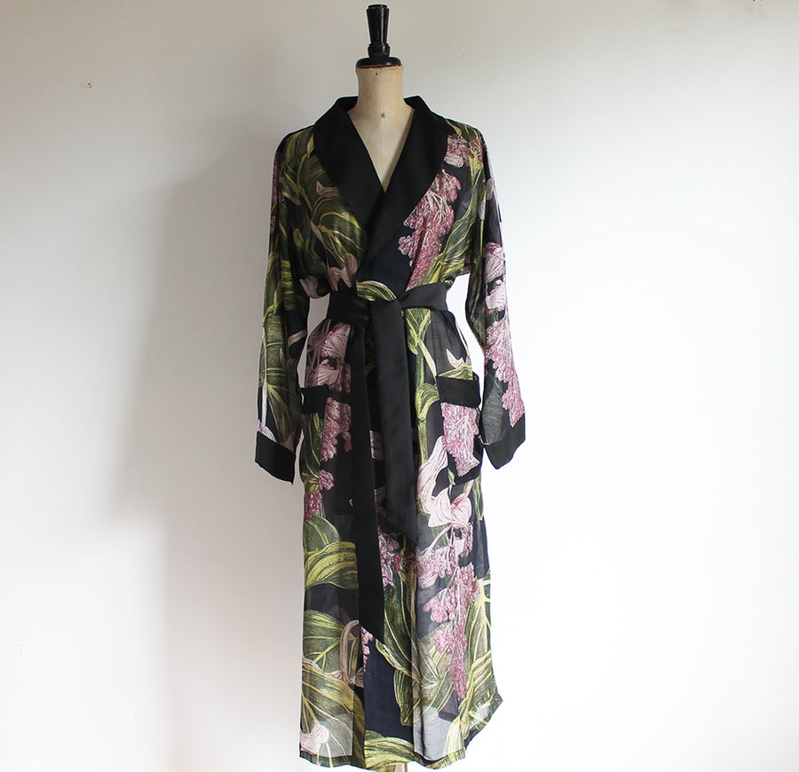 Gown with Black Medinilla Print