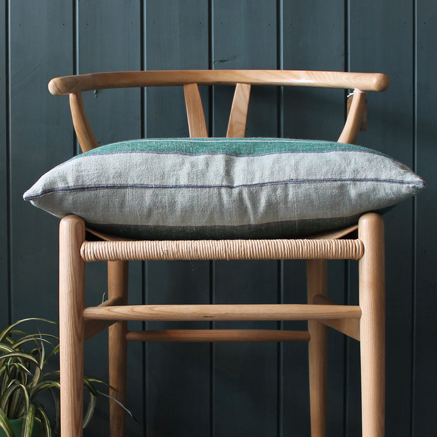 Linen Stripe Cushion in Meadow Green