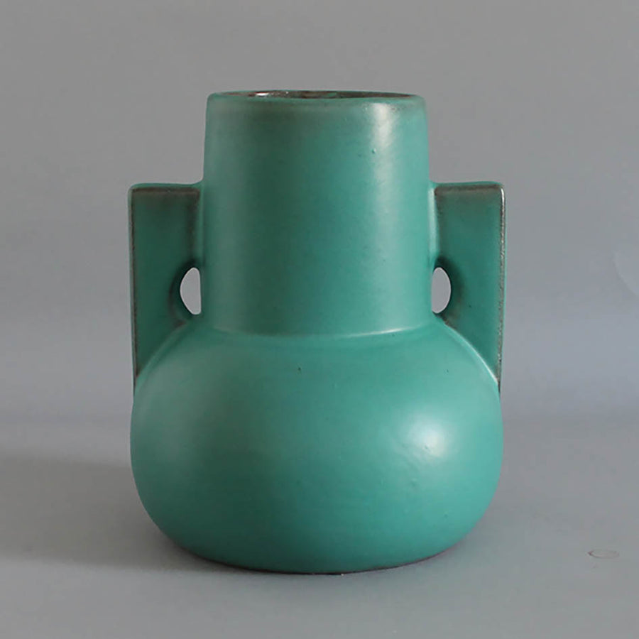 Green Stoneware Vase with Handles