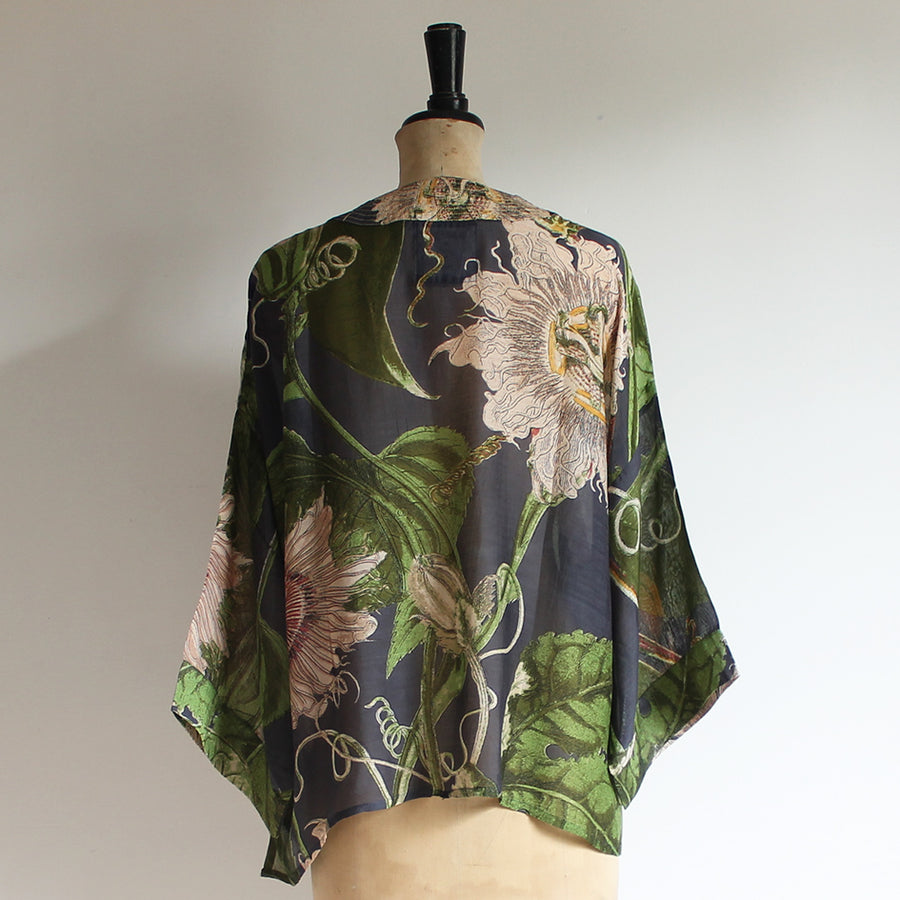 Kimono with Grey Passion Flower Print