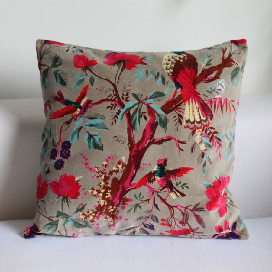 Velvet Pale Grey Bird of Paradise Print Cushion