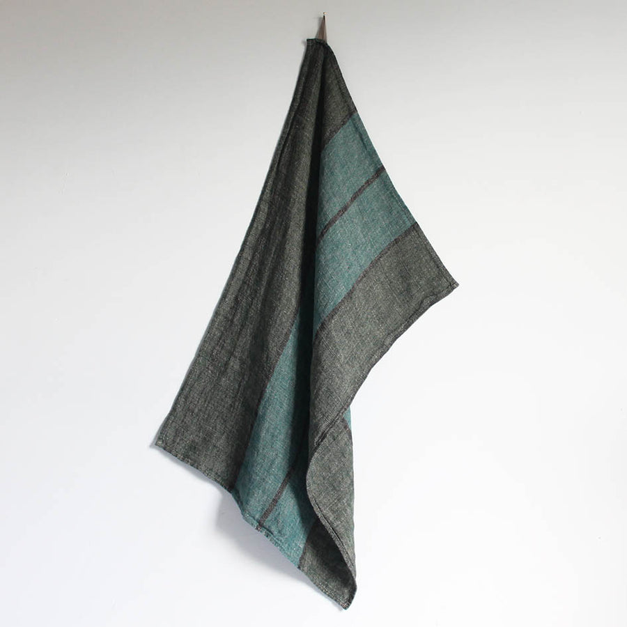 Linen T Towel in Petrol + Charcoal Stripes