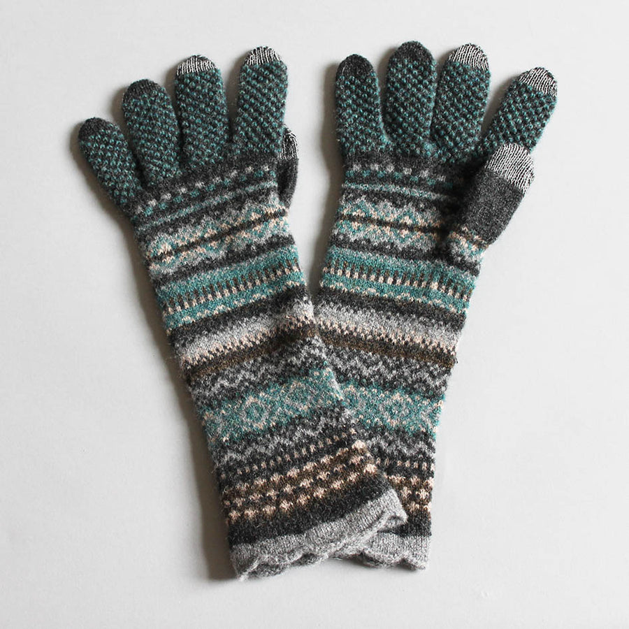 Merino Fairisle Knit Gloves-Grey