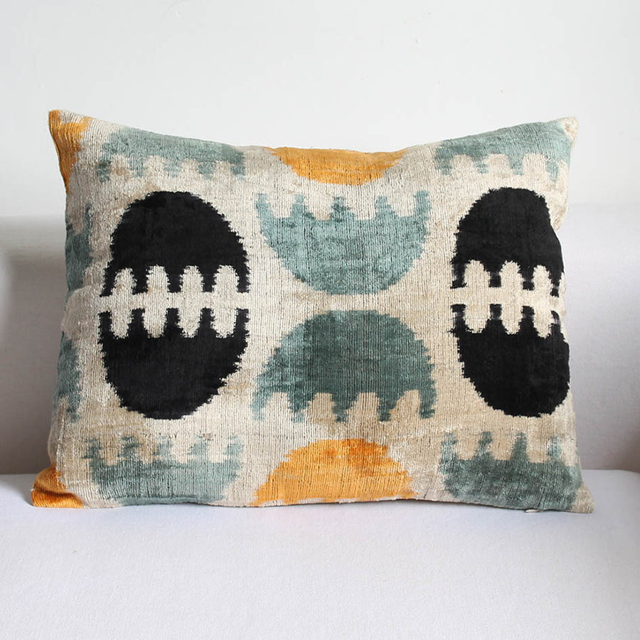 Silk Velvet Ikat Cushion in Grey + Ochre Pattern