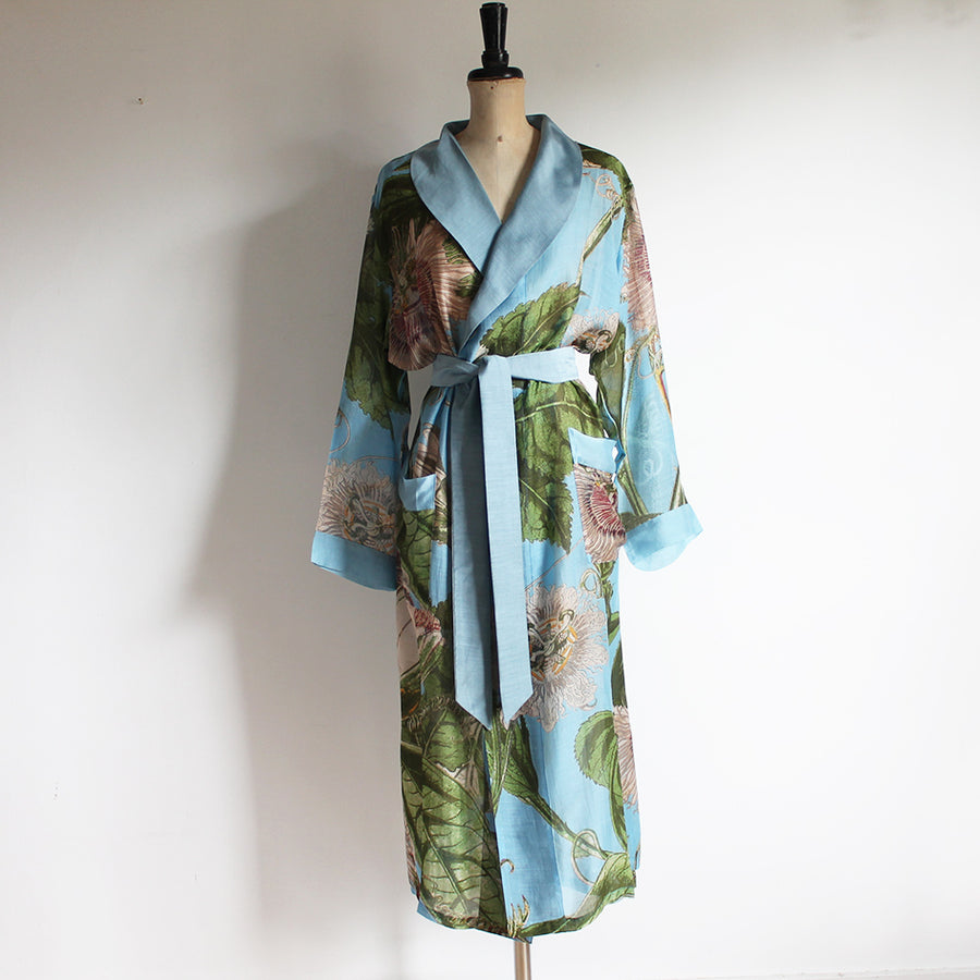 Gown with Sky Blue Passion Flower Print