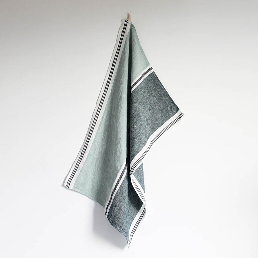 Linen T Towel in Ice Blue + Navy Stripes