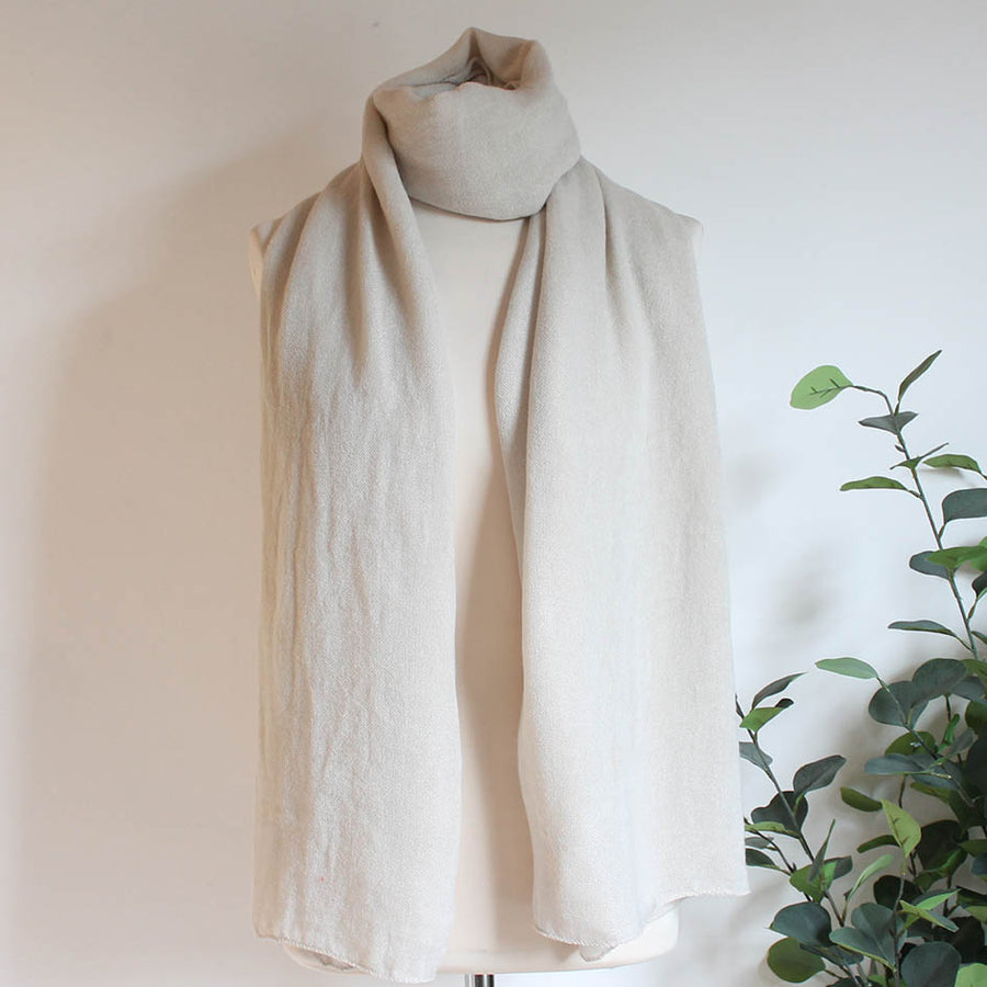 Soft Plain Knit Scarf in Oyster