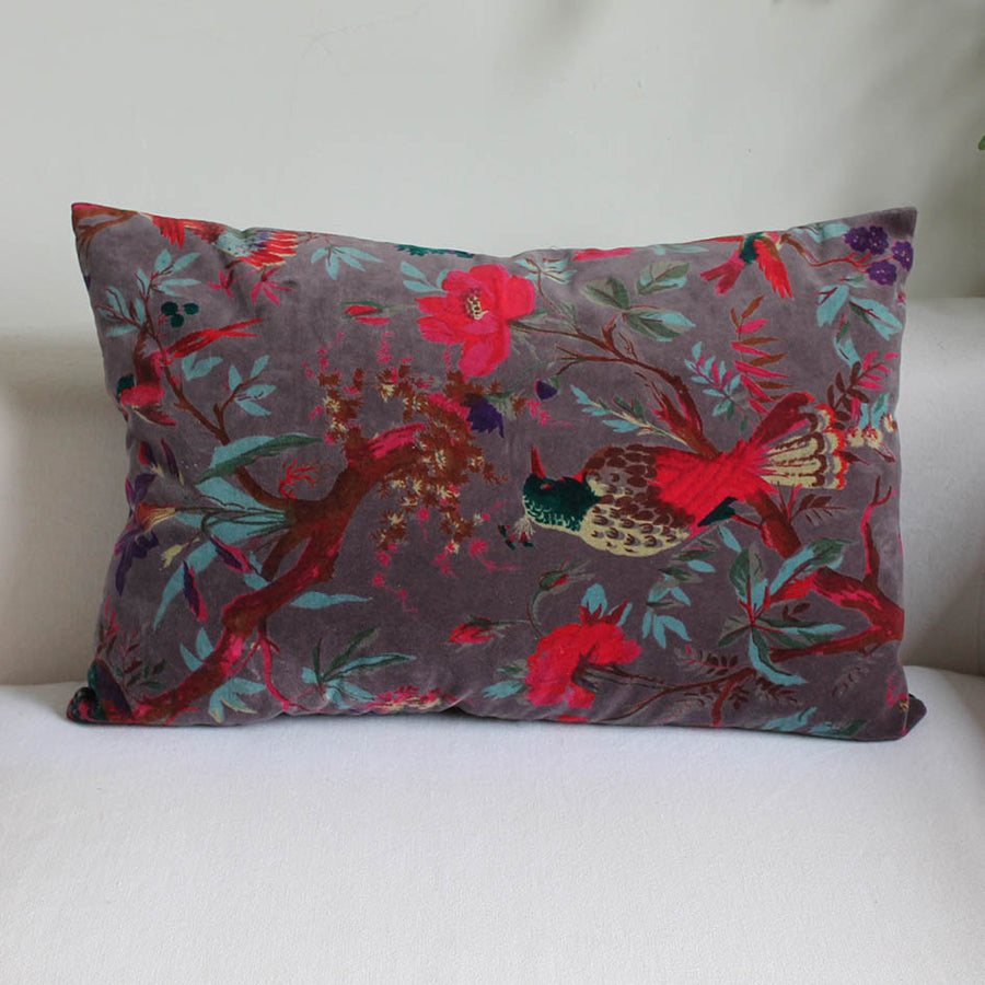 Velvet Lavender Birds of Paradise Oblong Cushion
