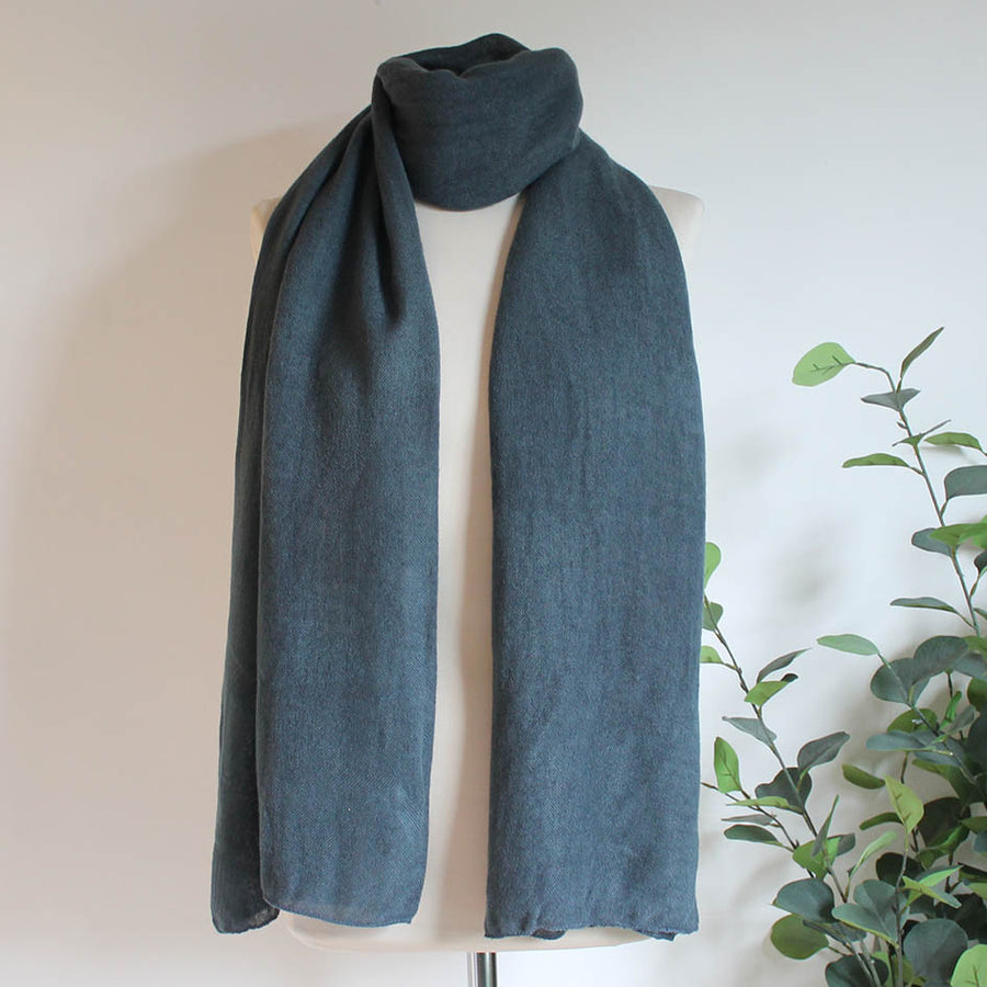 Soft Plain Knit Scarf in Steel Grey