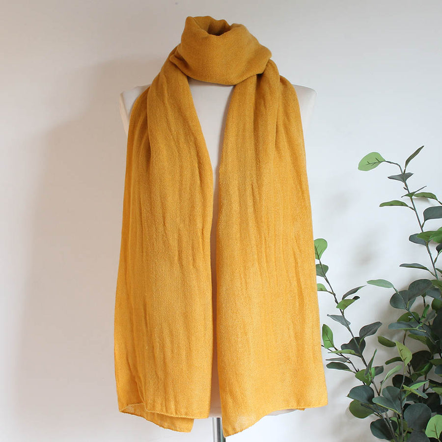 Soft Plain Knit Scarf in Ochre