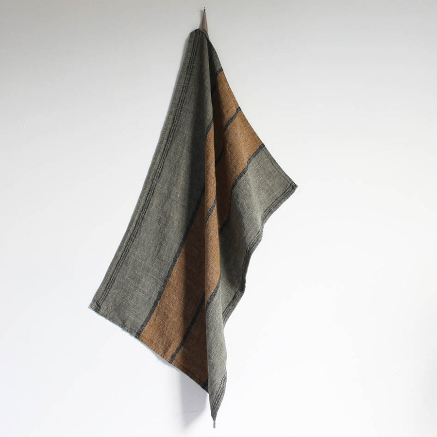 Linen T Towel in Olive + Ochre Stripes