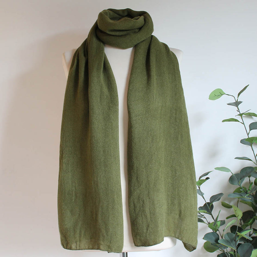 Soft Plain Knit Scarf in Olive Green
