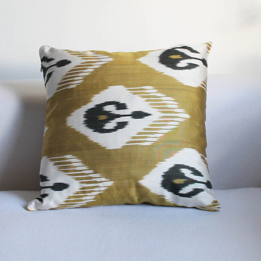 Ikat Cushion in Green Gold + Black Ottoman Pattern