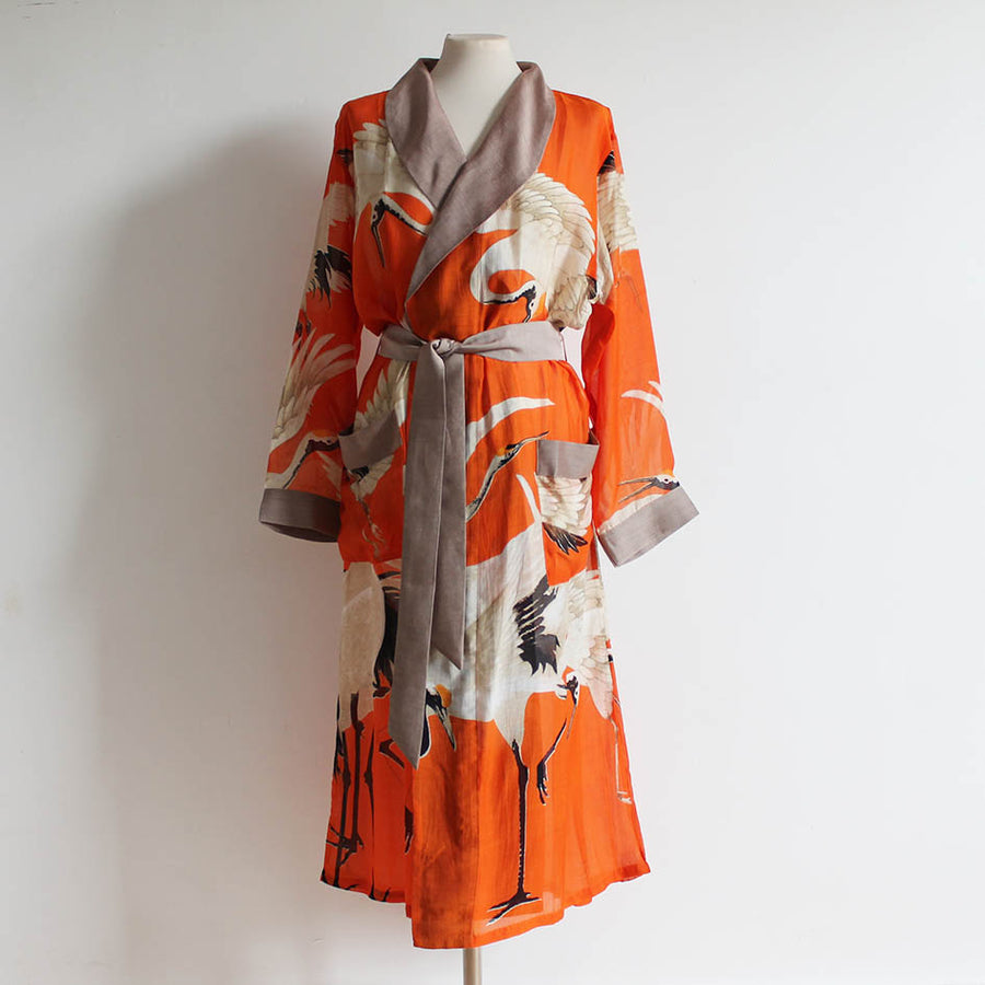 Gown with Orange Stork Print