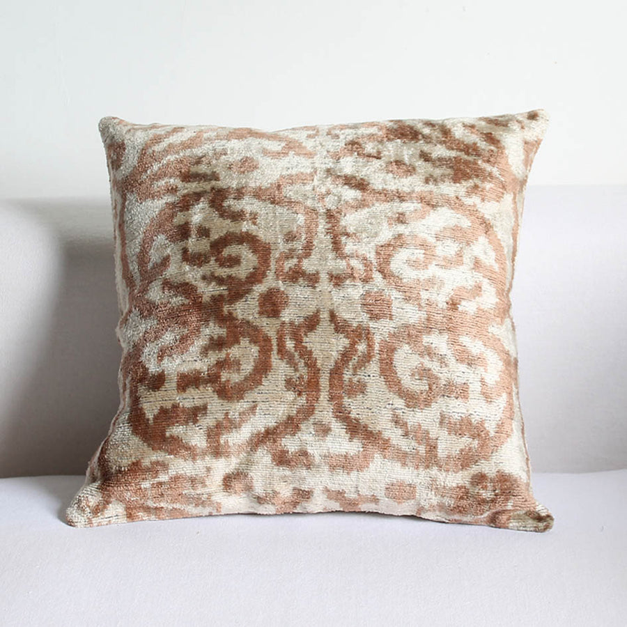 Silk Velvet Ikat Cushion in Dusty Pink Pattern