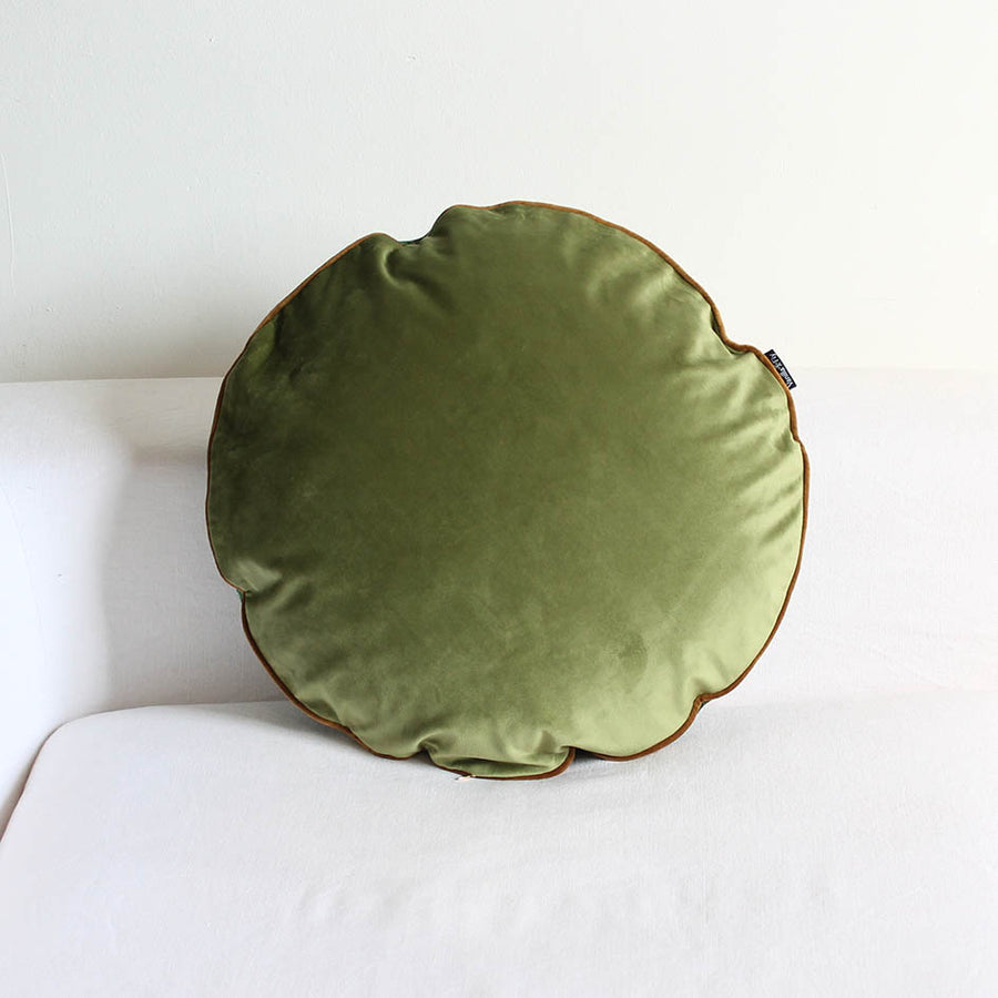 Round Velvet Palm Print Cushion