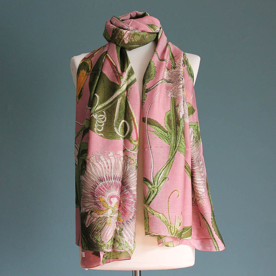 Scarf with Pink Passion Flower Print