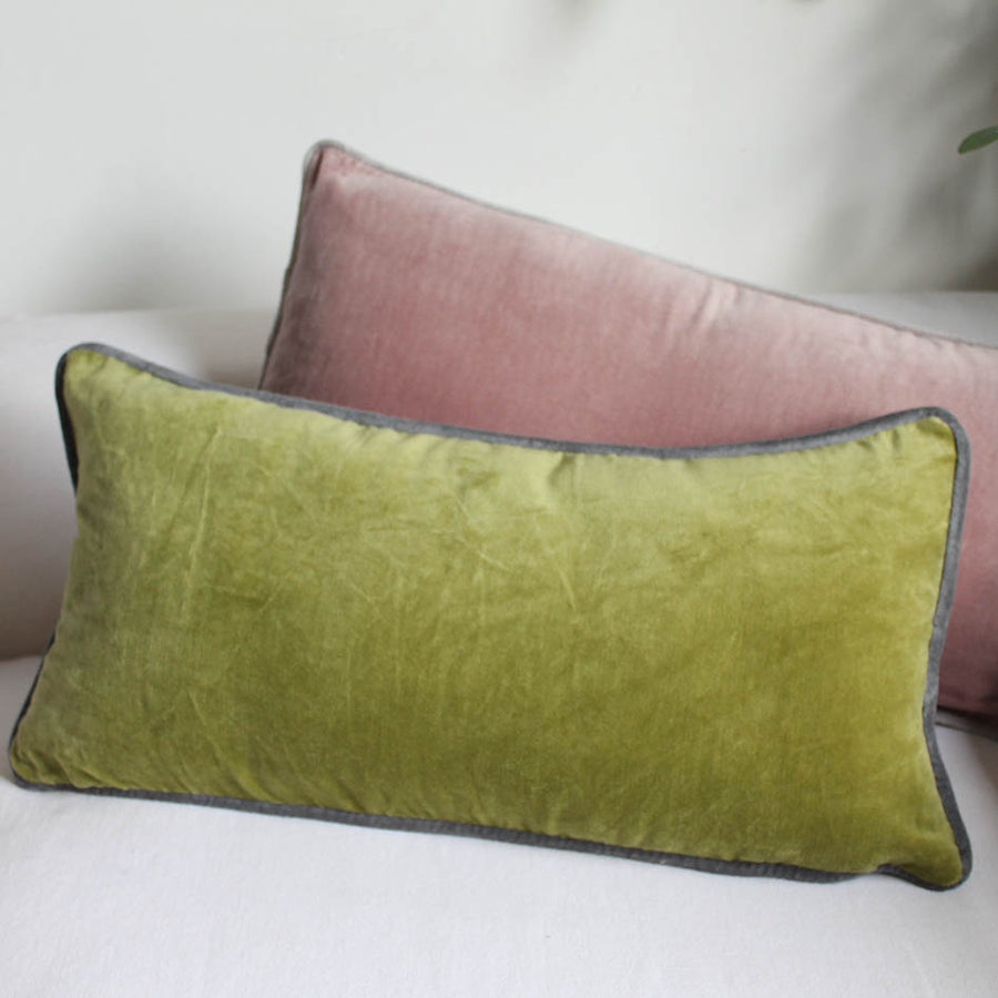 Moss Green Oblong Velvet Cushion