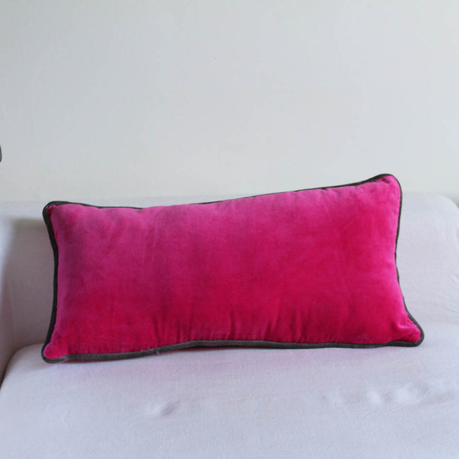 Shocking Pink Velvet Oblong Cushion