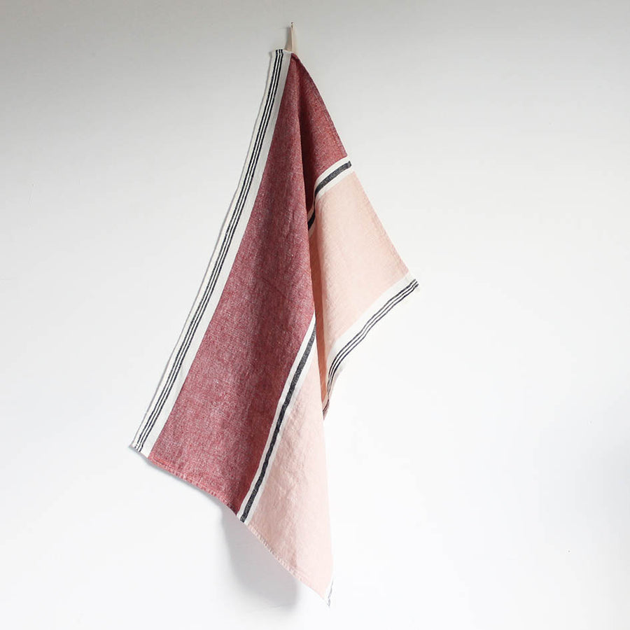 Linen T Towel in Dark Red + Pink Stripes