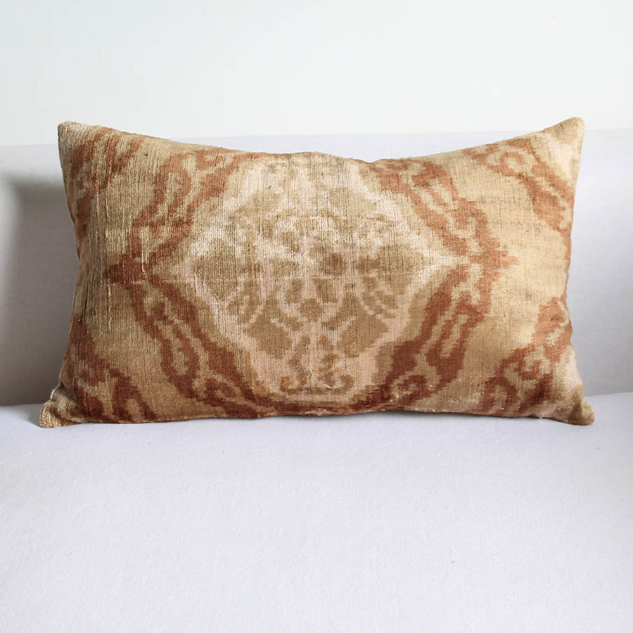 Silk Velvet Ikat Cushion in Pale Pink Oriental Pattern