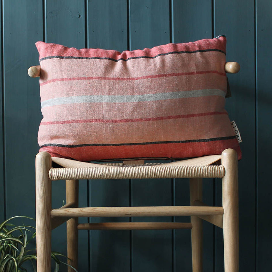 Linen Stripe Cushion in Pink