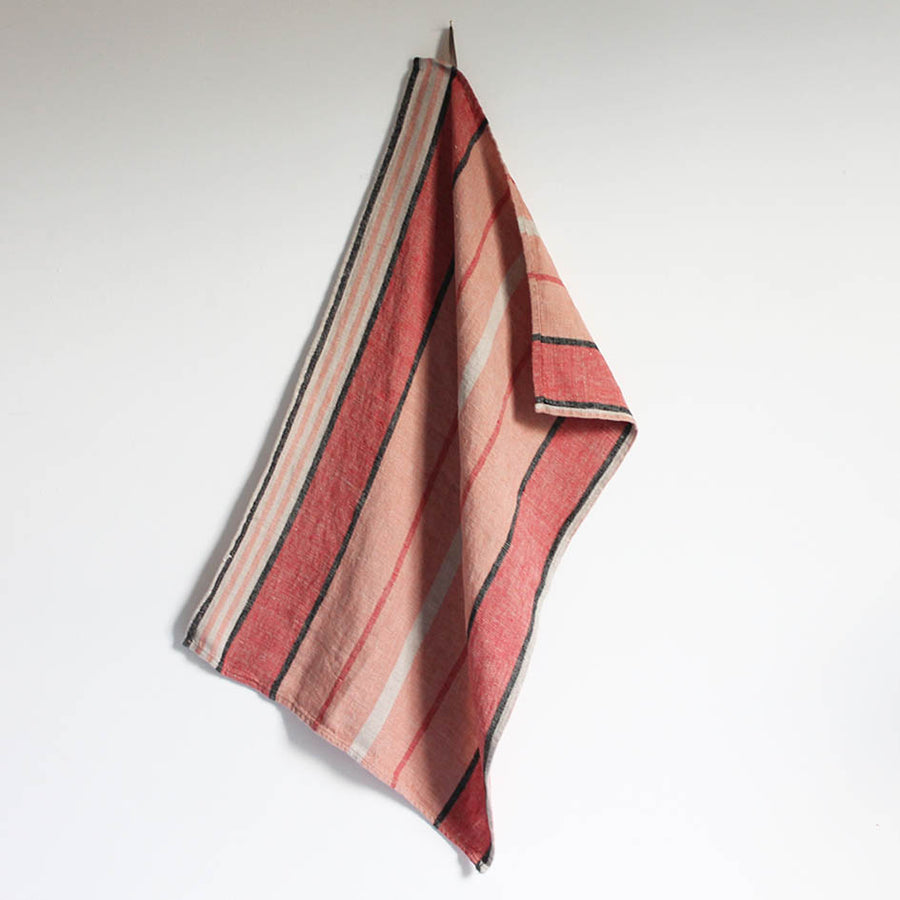 Linen T Towel in Pink Stripes