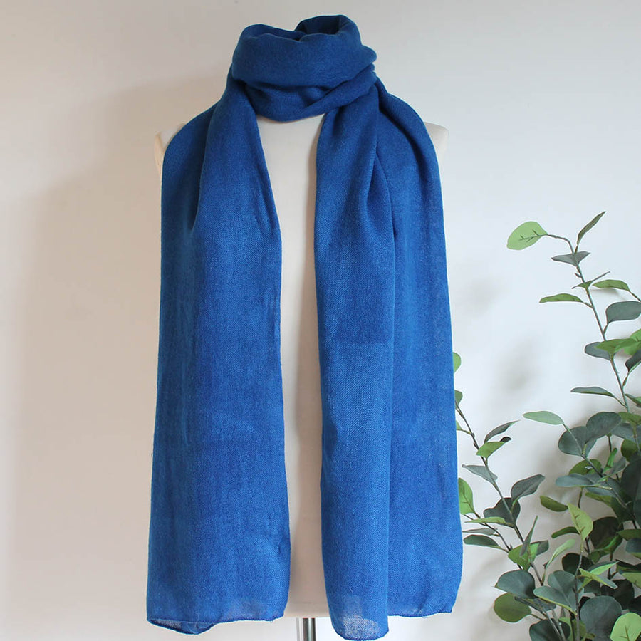 Soft Plain Knit Scarf in Royal Blue