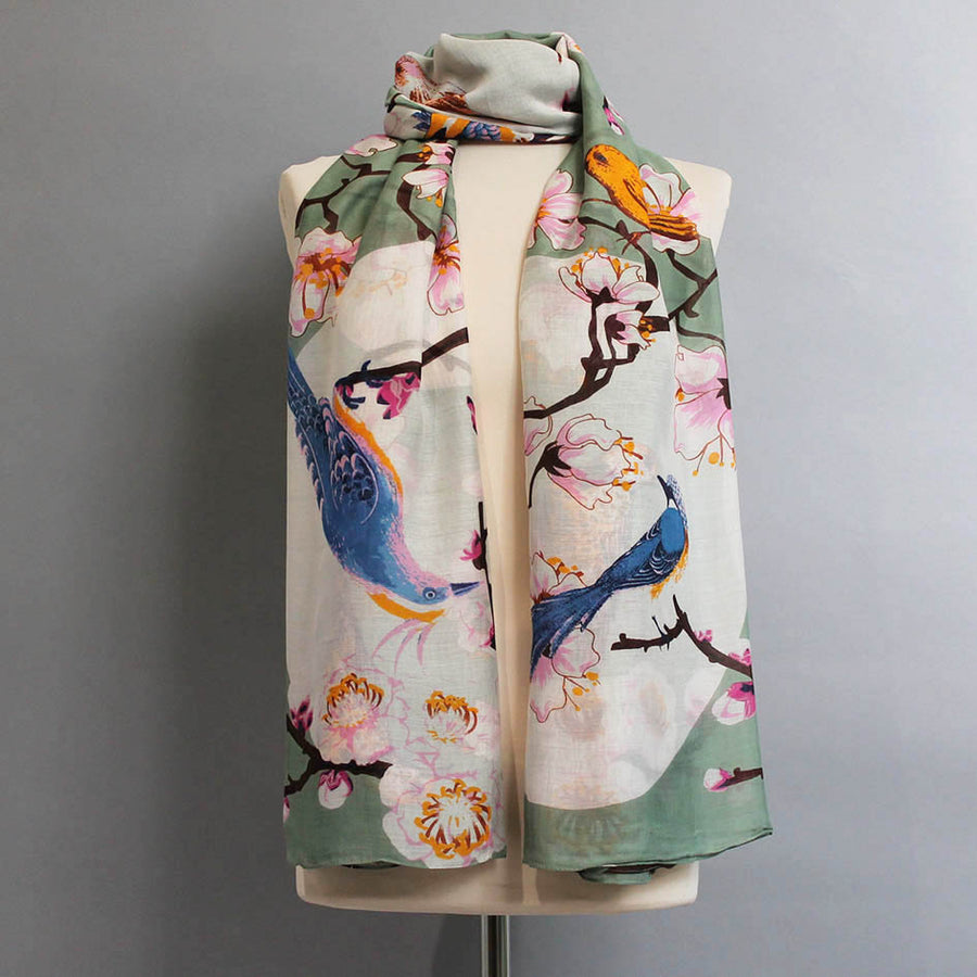 Scarf with Bird + Blossom Print