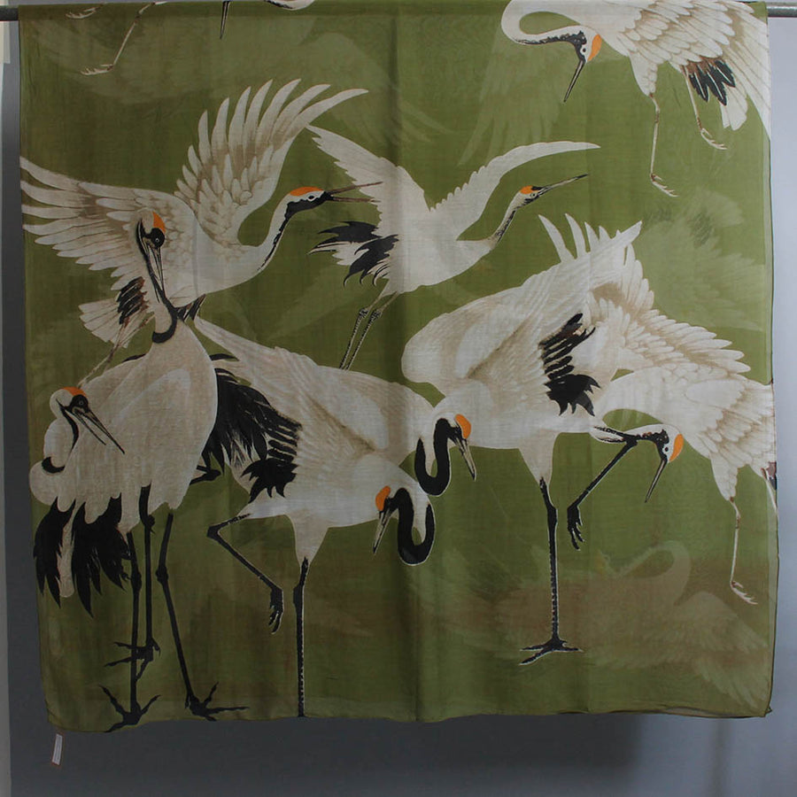 Scarf with Green Stork Print