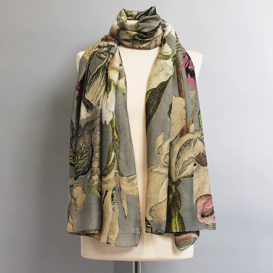 Scarf with Grey Iris Print