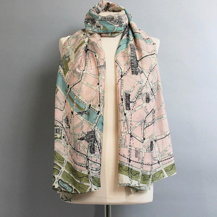Scarf with Paris Map Print