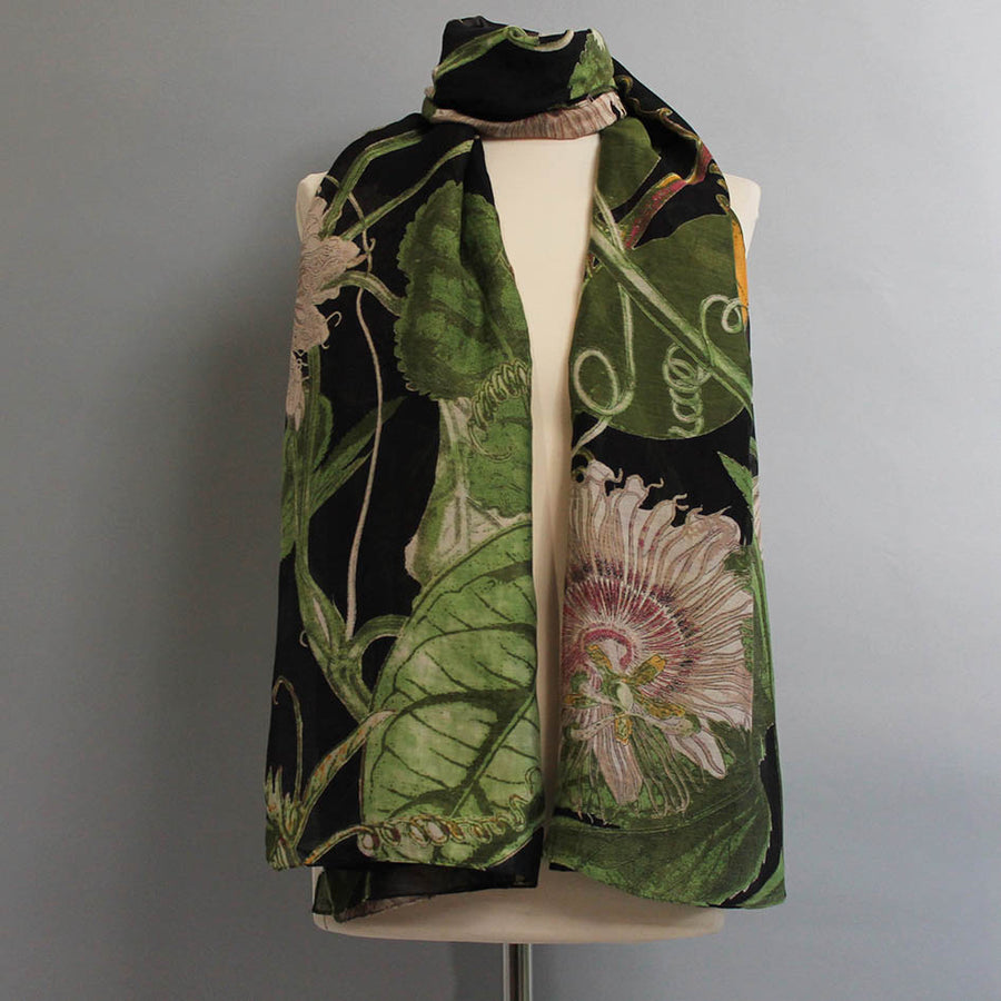 Scarf with Black Passion Flower