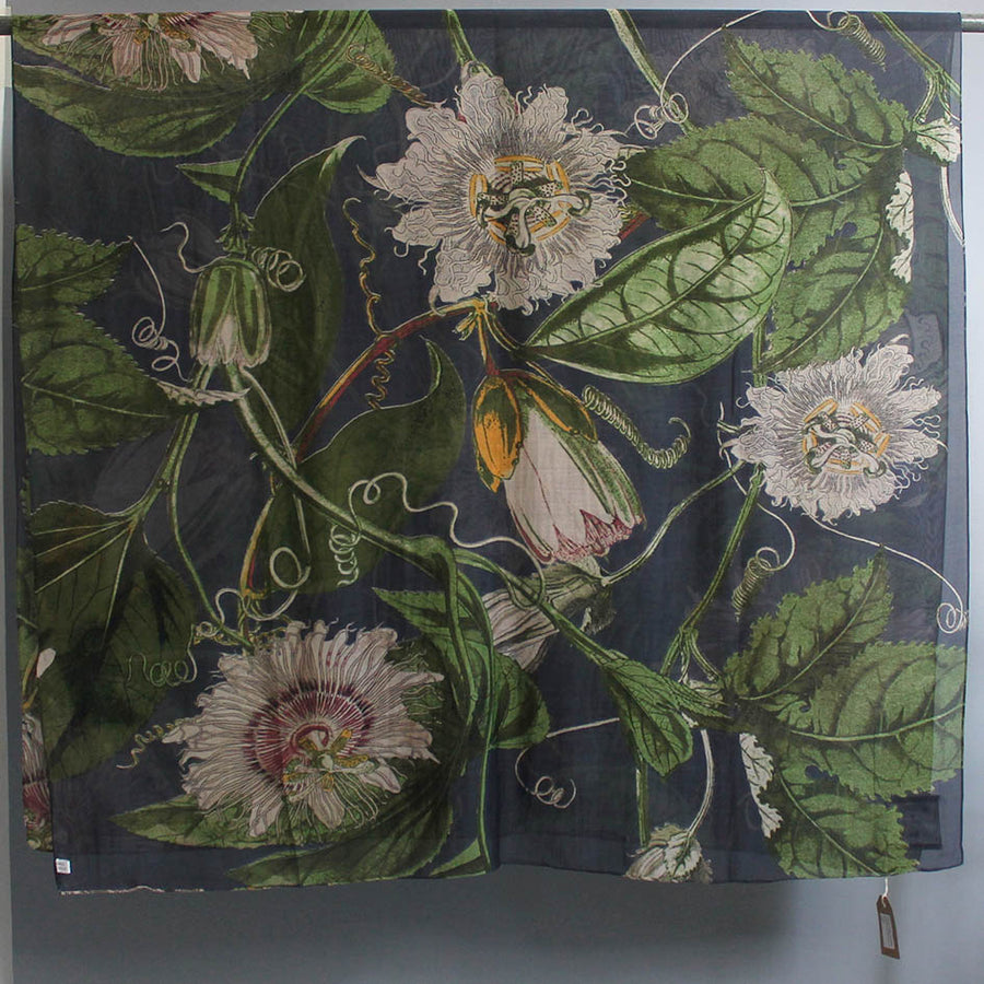 Scarf with Grey Passion Flower Print