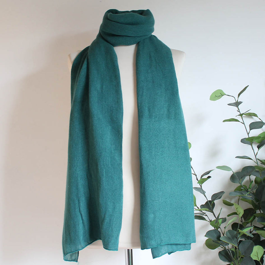 Soft Plain Knit Scarf in Jade