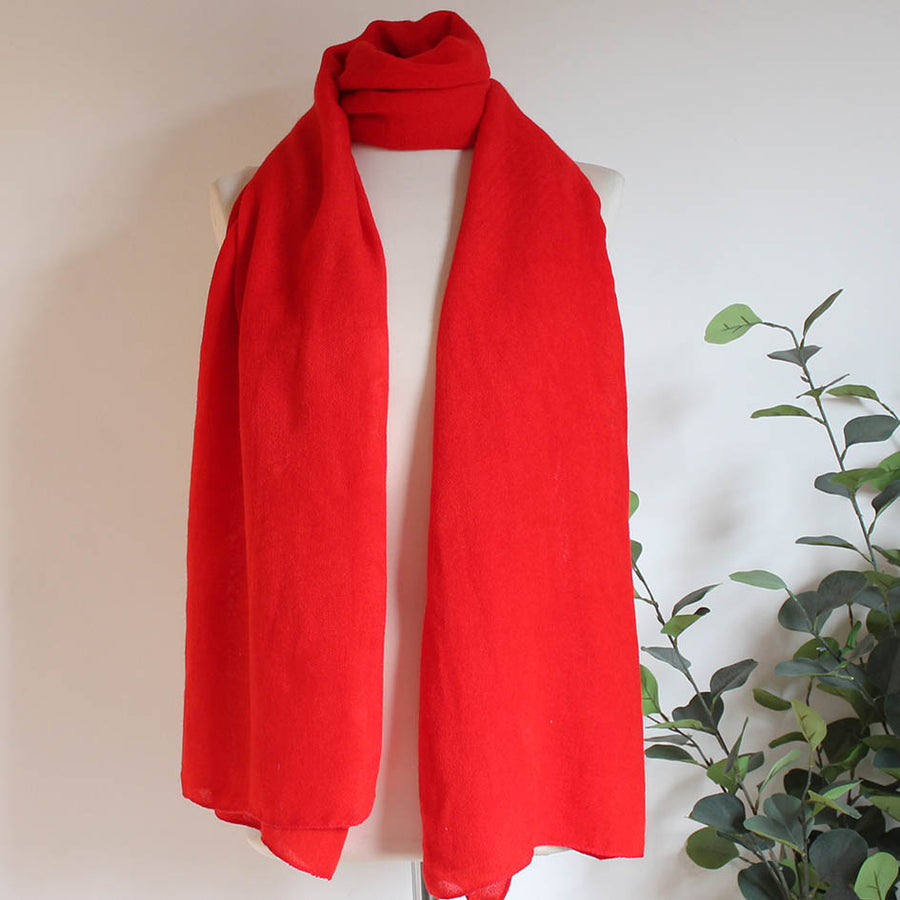 Soft Plain Knit Scarf in Signal Red