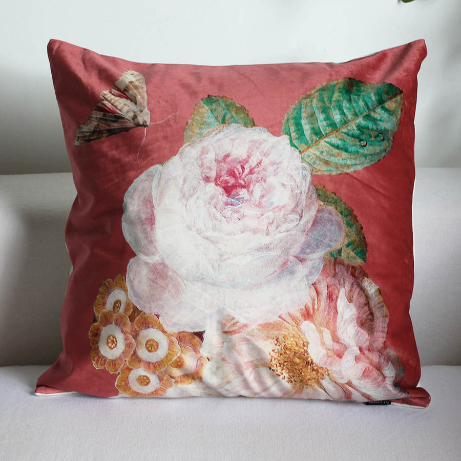Dusty Pink Rose Velvet Print Cushion