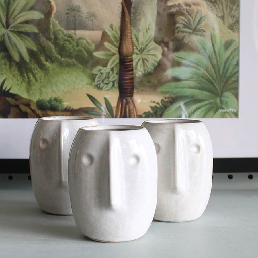 Small Face Pot-Ivory Stoneware