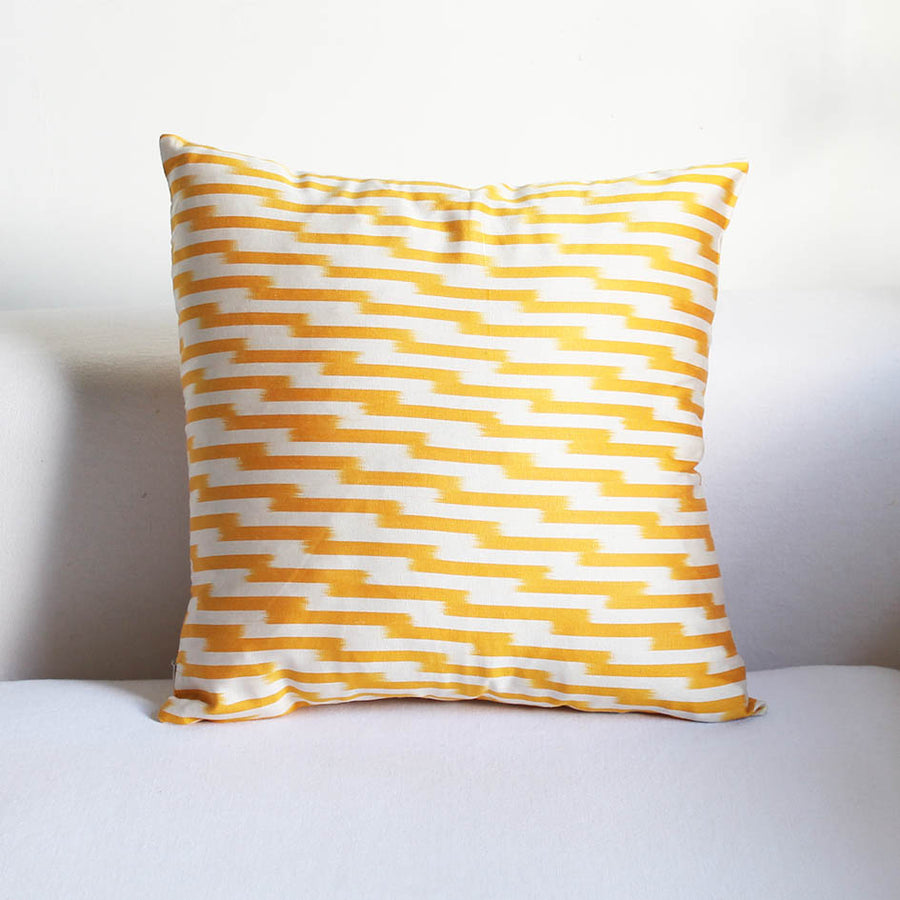 Ikat Cushion in Yellow + White Lines Pattern