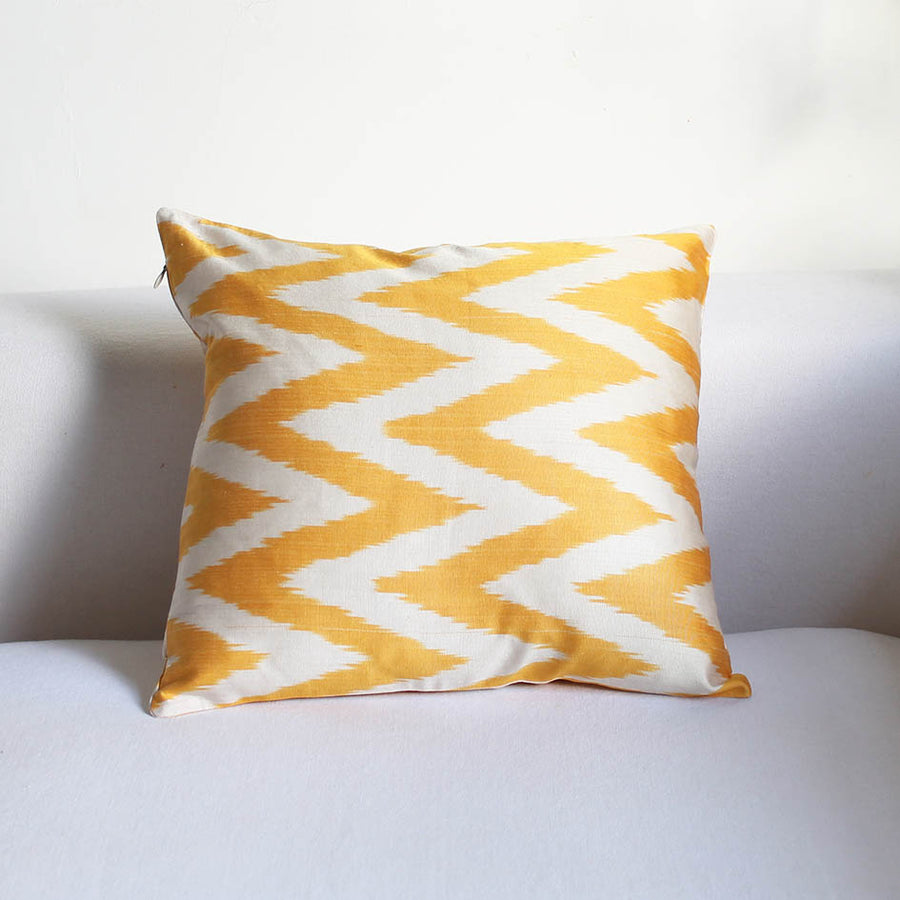 Ikat Cushion in Yellow Zig Zag Pattern