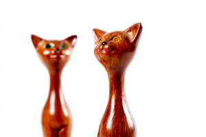 Pair of Carved Mid Century Cool Cats