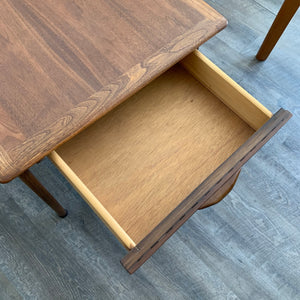 Vintage Walnut Side Table with Drawer