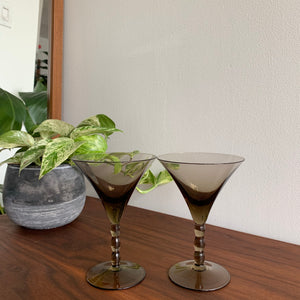 Pair of Vintage Smoked Martini Glasses