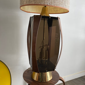 Vintage Midcentury Modern Walnut Bent Wood  and Smoked Acrylic Lamp