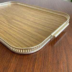 Vintage Laminate Serving Tray with Brass Handles