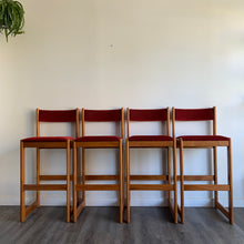 Load image into Gallery viewer, Set of 4 Teak Bar Stools