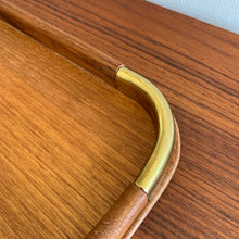 Load image into Gallery viewer, Vintage Teak Tray with Brass Corner Accents