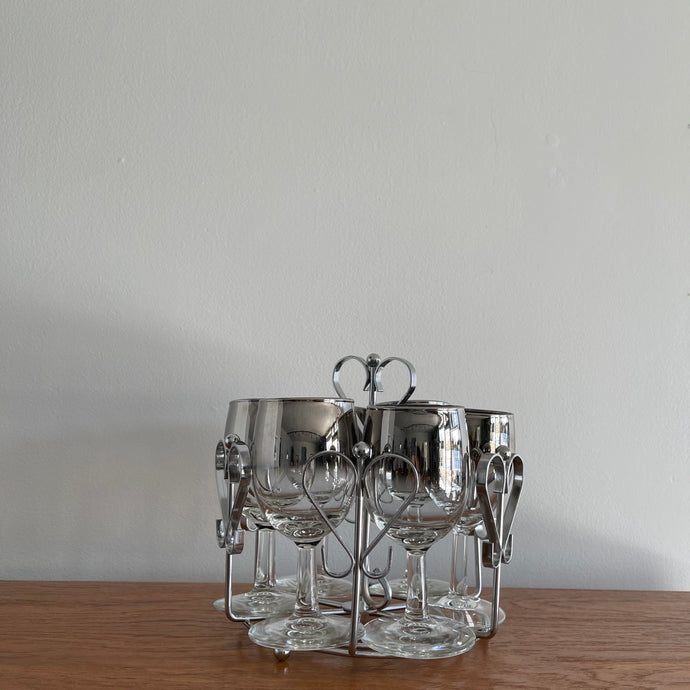 Vintage French Silver Fade Wine Glasses with Caddy